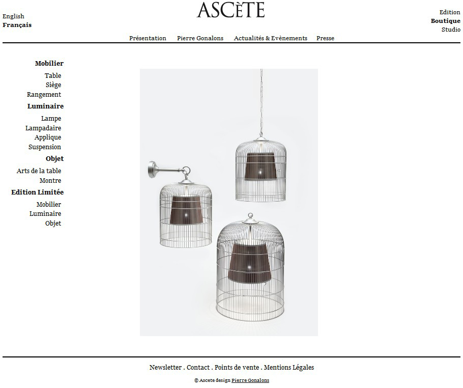 Screenshot du site ASCETE