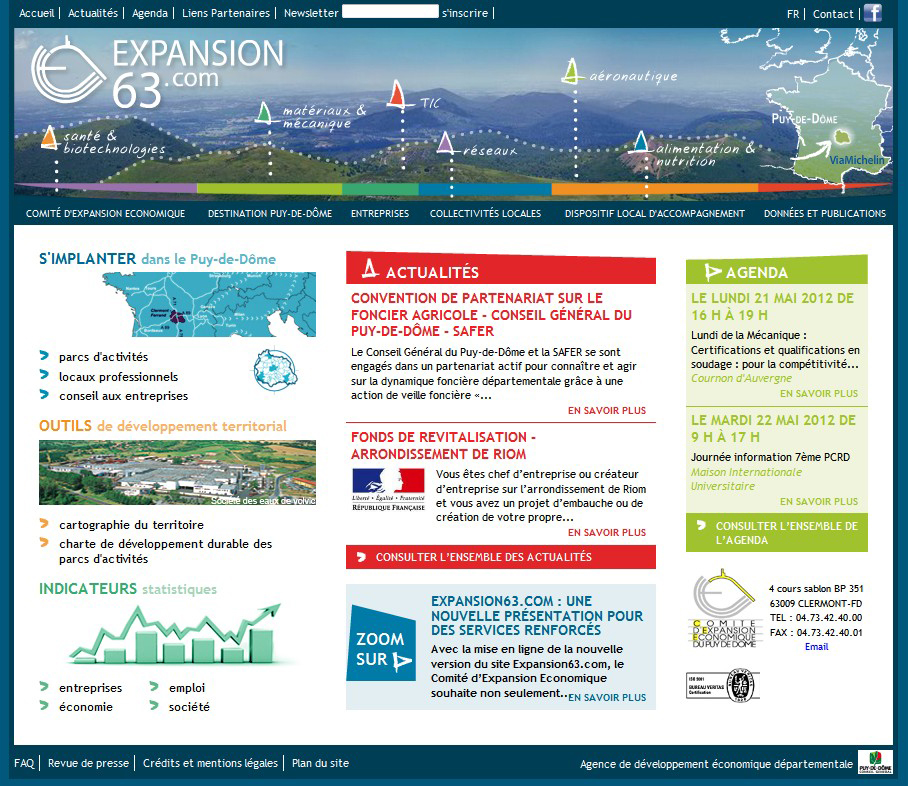 Screenshot du site Comité d'Expansion Economique Puy de Dôme